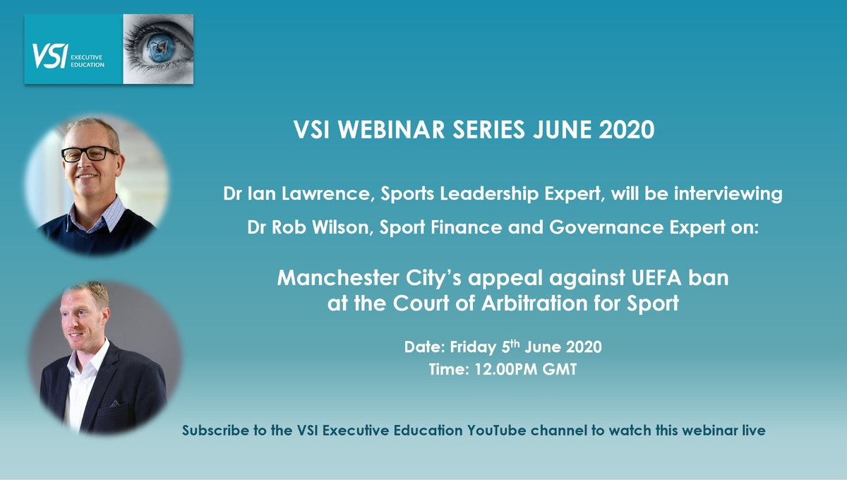 Will #ManCity be banned ? What are they charged with ? What is their defence to CAS Have they made CL more competitive? Is #FFP good for #Football ? VSI Webinar 👉 June 5th 👉 12noon 👉 youtube.com/channel/UCFuY6… @FCKev @DrRob_Wilson @ShanksL5 @ManCityMEN