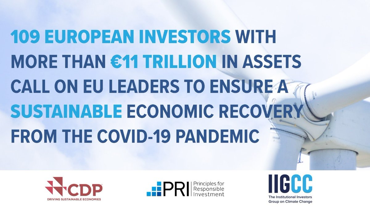 EU leaders should #BuildBackBetter by accelerating the drive to net zero emissions, in line with the Green Deal & #ParisAgreement. Key message in a letter to heads of state from over 100 investors with €11 trillion in assets via @IIGCCnews @CDP @PRI_News. bit.ly/3dvXUCy