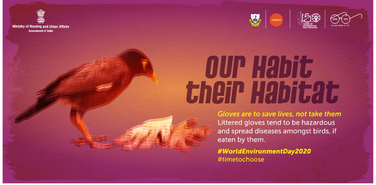 It's time to choose, our habit or their Habitat.  #WorldEnvironmentDay2020 #timetochoose  #SwachhBharatAbhiyan @SwachhBharatGov @SwachSurvekshan @swachhbharat https://t.co/AHQVMfoFld