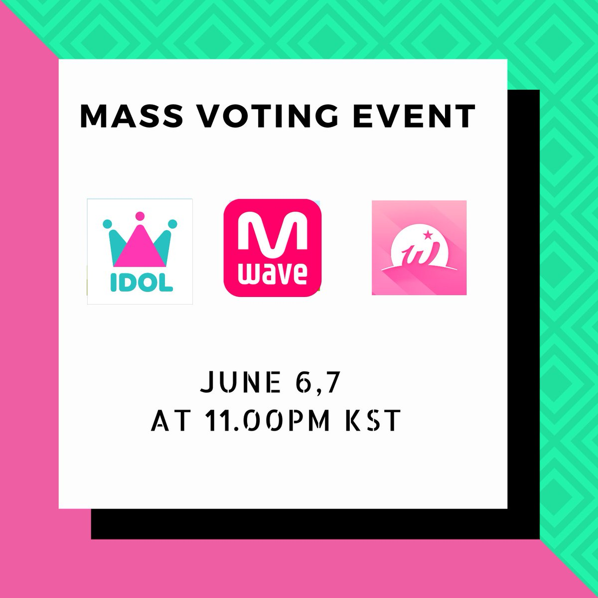 📣MASS VOTING EVENT 📣 We will be doing mass voting for Mcountdown (Mwave website/ Whosfan) and for Global pre-voting for Idolchamp. Voting schedule 🗓June 6,7 ⏰11:00PM KST Please RT and encourage more onces to join us. (@JYPETWICE )