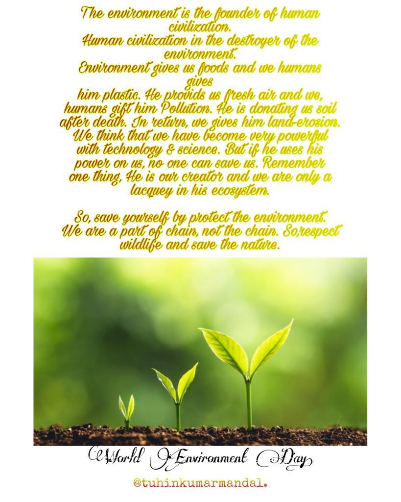 We have to change ourselves first....   #WorldEnvironmentDay2020 #SaveEarthSaveLife  #saveenvironment  #SaveNature #SaveWildlife @EllyanneCGithae @UNEP @UNEP_AsiaPac @UN @NatGeo @Discovery @AnimalPlanet @PMOIndia @POTUS @RNTata2000 @BillGates .pic.twitter.com/pP9DFimTbJ – at Malda