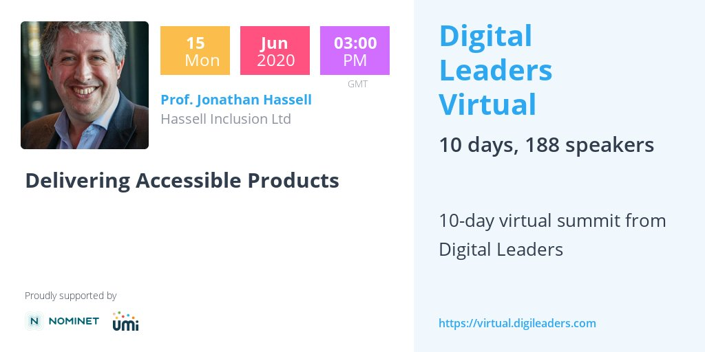 HassellInc: Looking forward to hearing our #CEO and #Accessibility expert @jonhassell talking about accessibility for #Digital #Products at Digital Leaders Virtual - an essential for any digital leader!  Book your place here https://t.co/84Zqii6i9u  #di… https://t.co/zJs2qM1Vfr