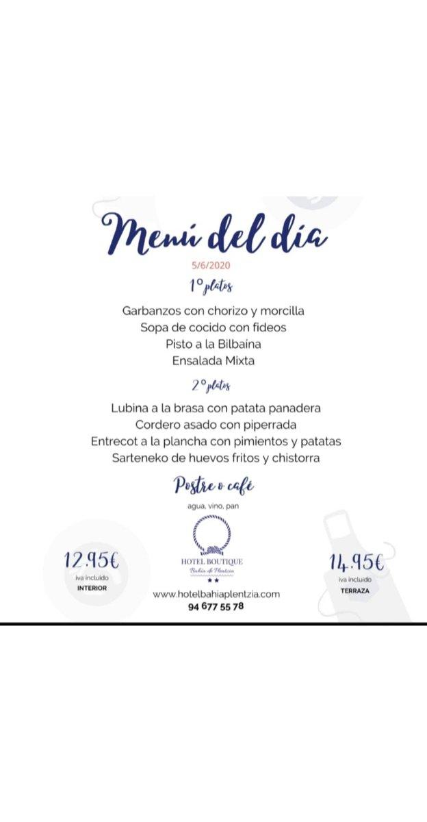 Menú del día. 5/6/2020 Puedes disfrutar de nuestro menú en el interior o en nuestra terraza acristalada.  #plentzia @UribeTurismo @UribeFMpic.twitter.com/qbGj3qwsVz