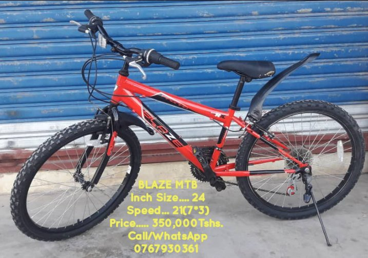 BLAZE MOUNTAIN BIKE Inch Size..... 24 Speed......... 21(7*3) Price........ 350,000Tshs(Negotiable)   Location : Mwenge Opposite Suma Jkt Office Call/WhatsApp 0767930361  @BaiskeliT  The Home Of Quality Biyclces in town pic.twitter.com/qujmh2T8gc