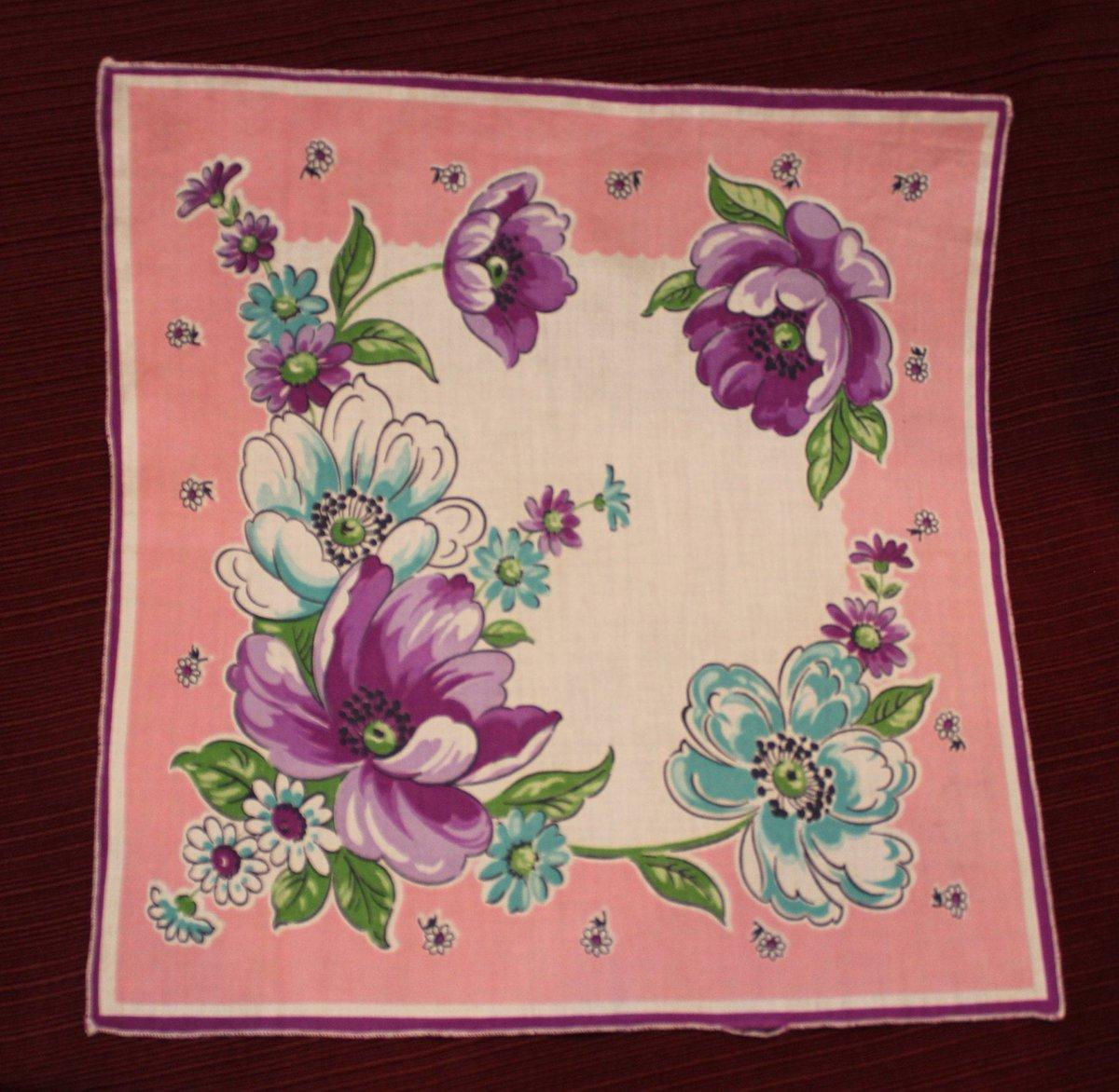 Hankie, Vintage, Handkerchief, Flowers, Floral, Pink, Purple, Blue, White, Mid Century, 1940s Style, Sewn Edge, Cotton, Hankie, Retro http://tuppu.net/249db658 #ImagineQuiltsAndMore #Etsy #1940sStylepic.twitter.com/sC1mvPtU8p