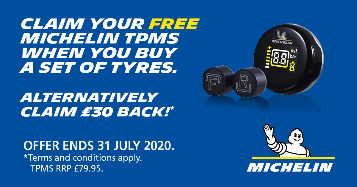 Claim your free Michelin tyre pressure monitoring system when you buy a set of tyres from one of the included ranges.  Alternatively, claim £30 back.  Offer ends on 31st July 2020.  Call us now for the best prices  01795 899204  #FuelingYourFreedom #teammichelin #michelinonmymoto pic.twitter.com/MvTK1hXxKn