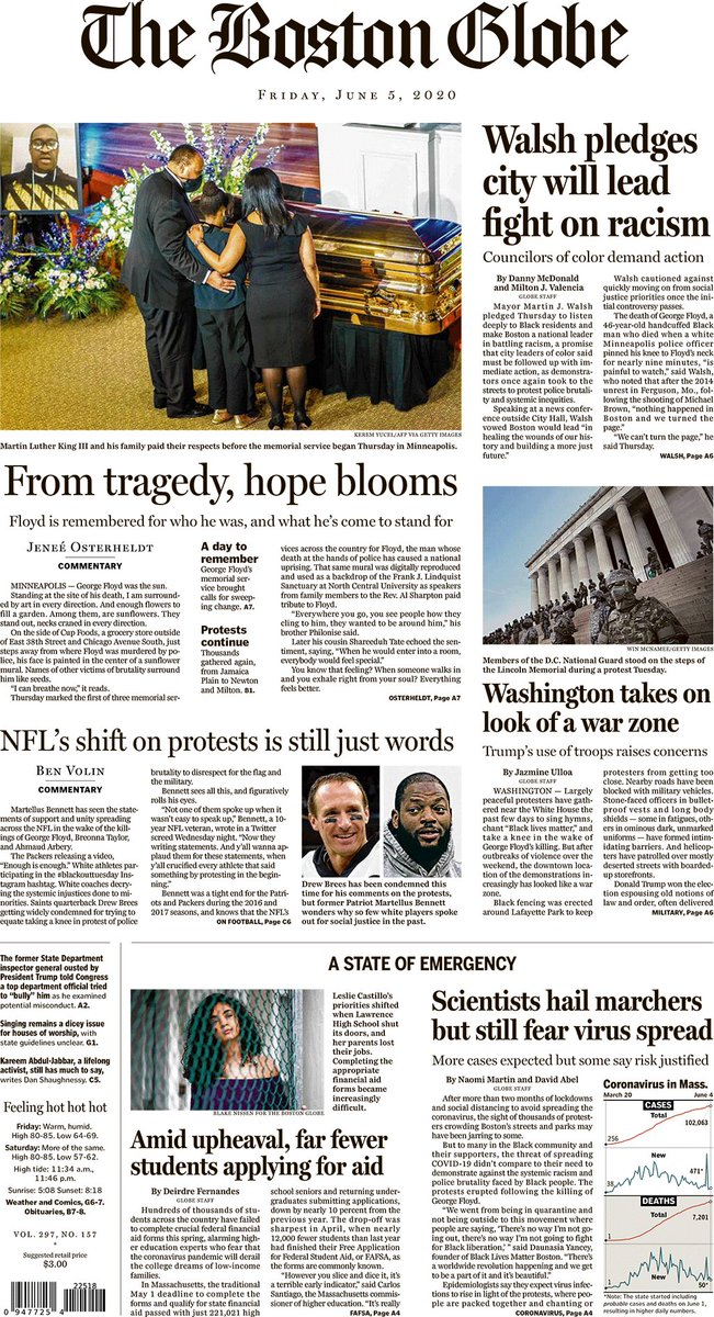 In todays paper: Walsh pledges to make Boston a national leader in battling racism, Fewer students are applying for financial aid for college, and more. bos.gl/3JORFLu