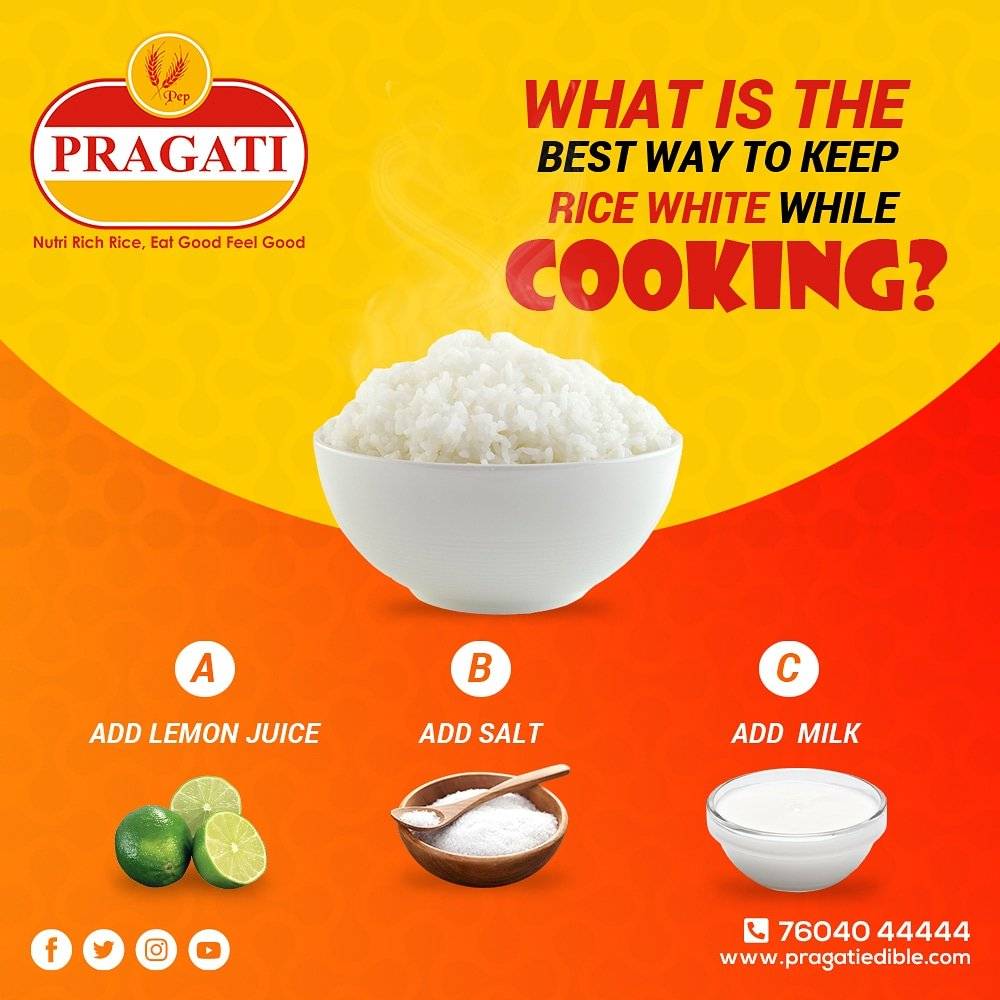 What is the best way to keep rice white while cooking ? Comment your answer below.  - Like the post  - Comment your answer below  - Share the post  - Tag your 3 friends and ask them to join.  #PragatiRice #NutriRichRice #EatGoodFeelGood #QualityAndVariety #Rice #Healthy #Tastypic.twitter.com/8R1wXkCB7e