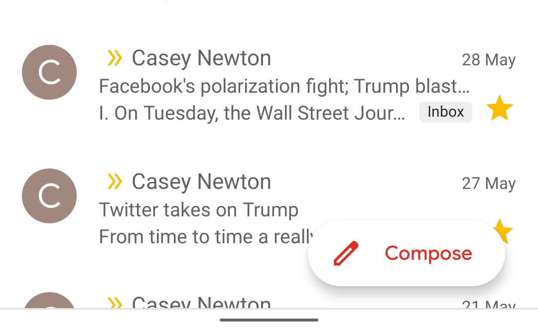 Gmail's stupid tiny compose button gets a little less tiny on Android