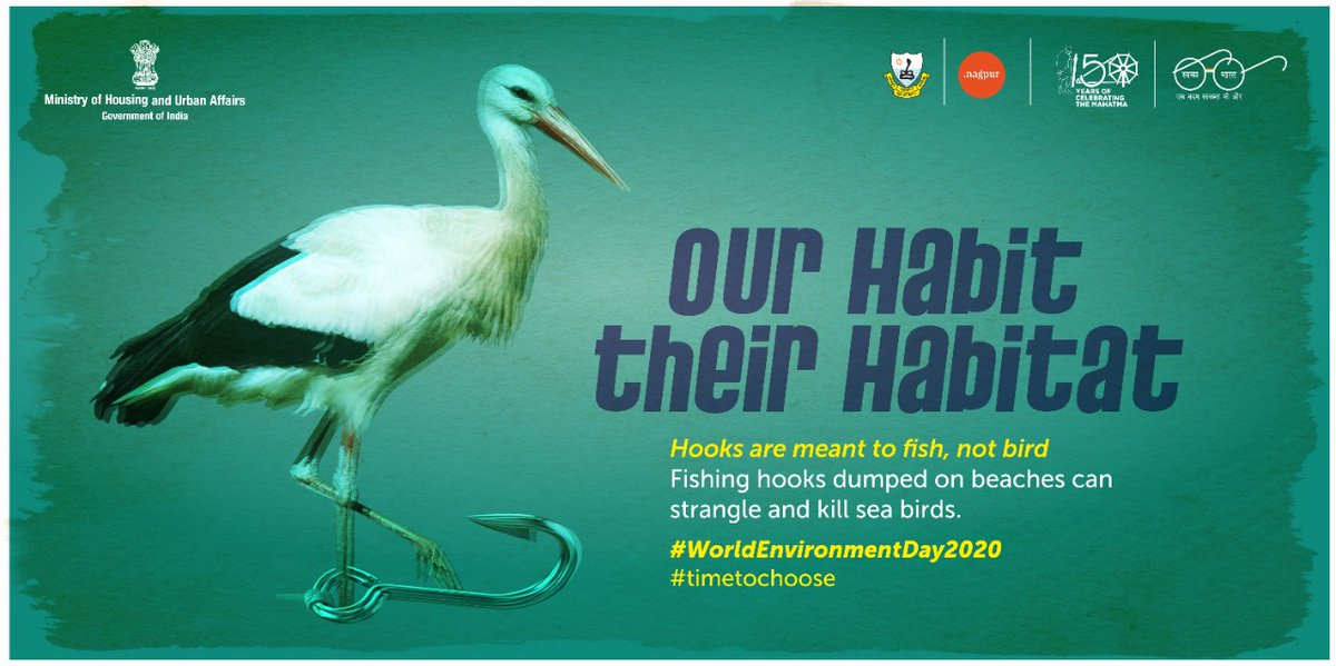 It's time to choose, our habit or their Habitat.  #WorldEnvironmentDay2020 #timetochoose  #SwachhBharatAbhiyan @swachhbharat @SwachhBharatGov @SwachSurvekshan https://t.co/DnwJTwglNC
