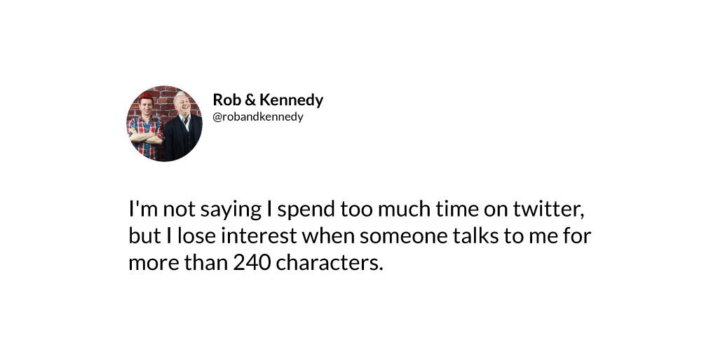 RT @RobandKennedy: How long is TOO long to spend on twitter a day?  #twitteraddict #twittersmarter #twitterchat https://t.co/dRyXkGYEGU