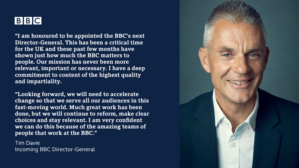Tim Davie appointed new BBC Director-General: bbc.in/2zTDcy5