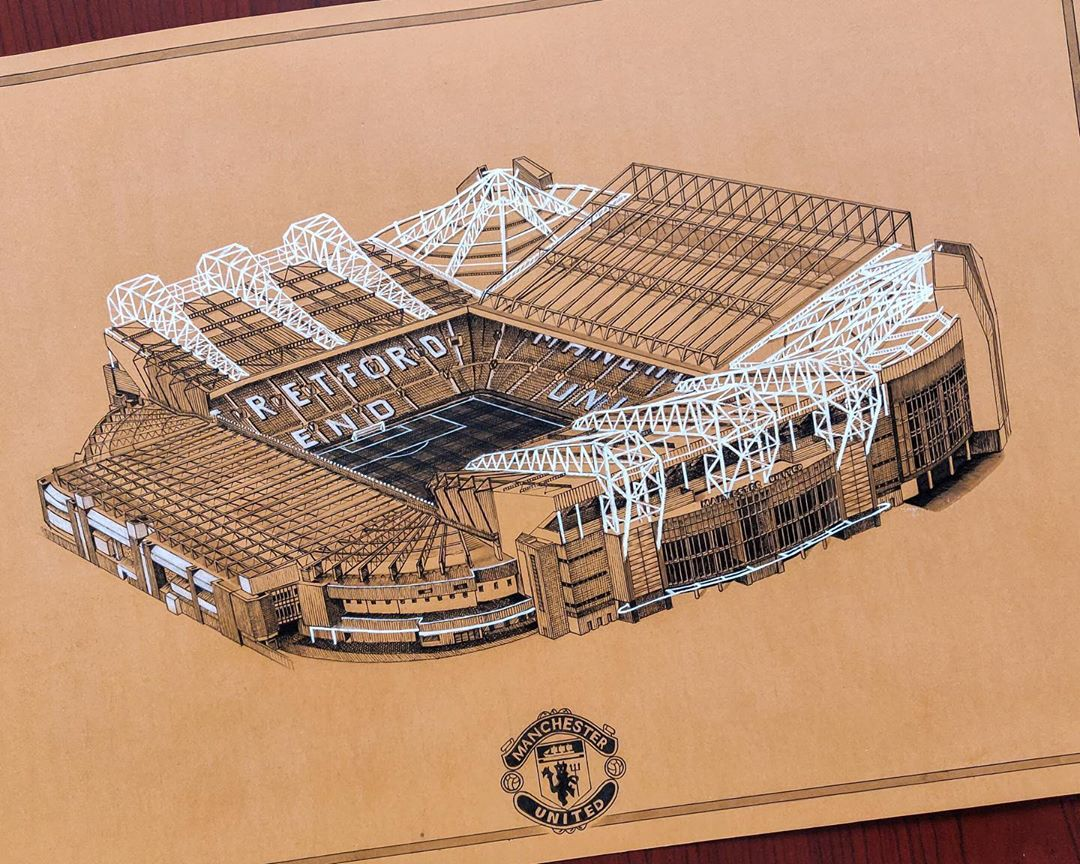Old Trafford always looks good, but how good is this drawing?! 😍🙌 🎨: Asif Mujthaba M #MUFC #FanArtFriday