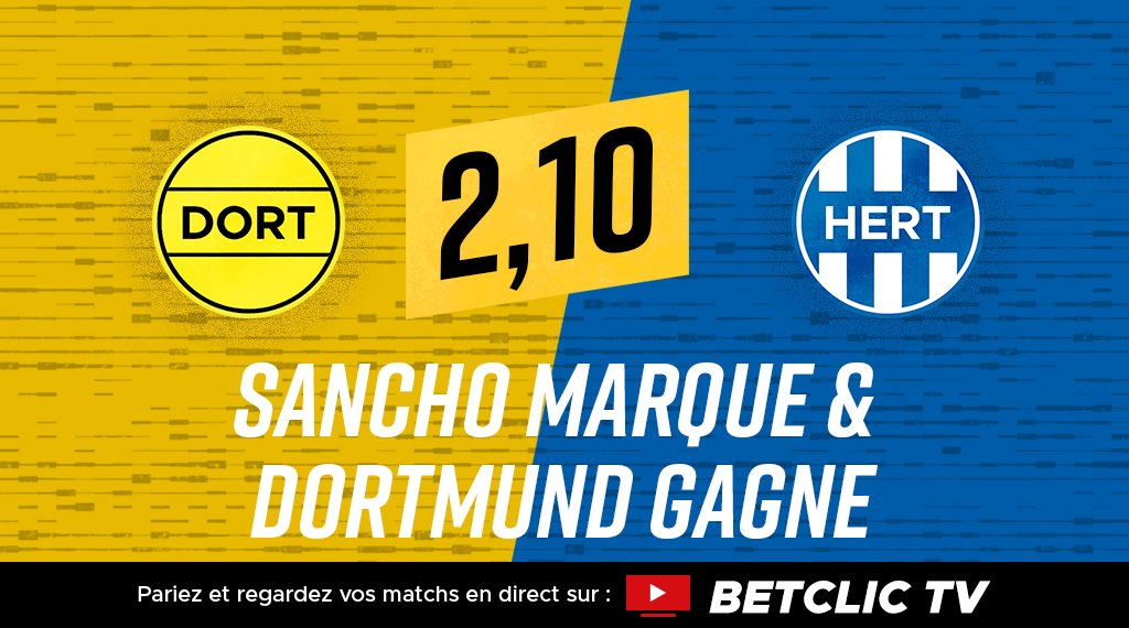 ⚽️🇩🇪 Nouvelle masterclass de Sancho... Il mène Dortmund à la victoire face au Hertha Berlin ? 🔥 Pariez et regardez le match sur votre Betclic TV 📺