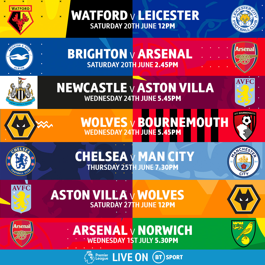 OFFICIAL: BT Sport will be broadcasting the first-ever Saturday 3pm Premier League game!  Brighton 🆚 Arsenal Chelsea 🆚 Man City Aston Villa 🆚 Wolves  Our first seven of 20 live matches until the end of the season are confirmed 👊 https://t.co/9ev6GuDN7c