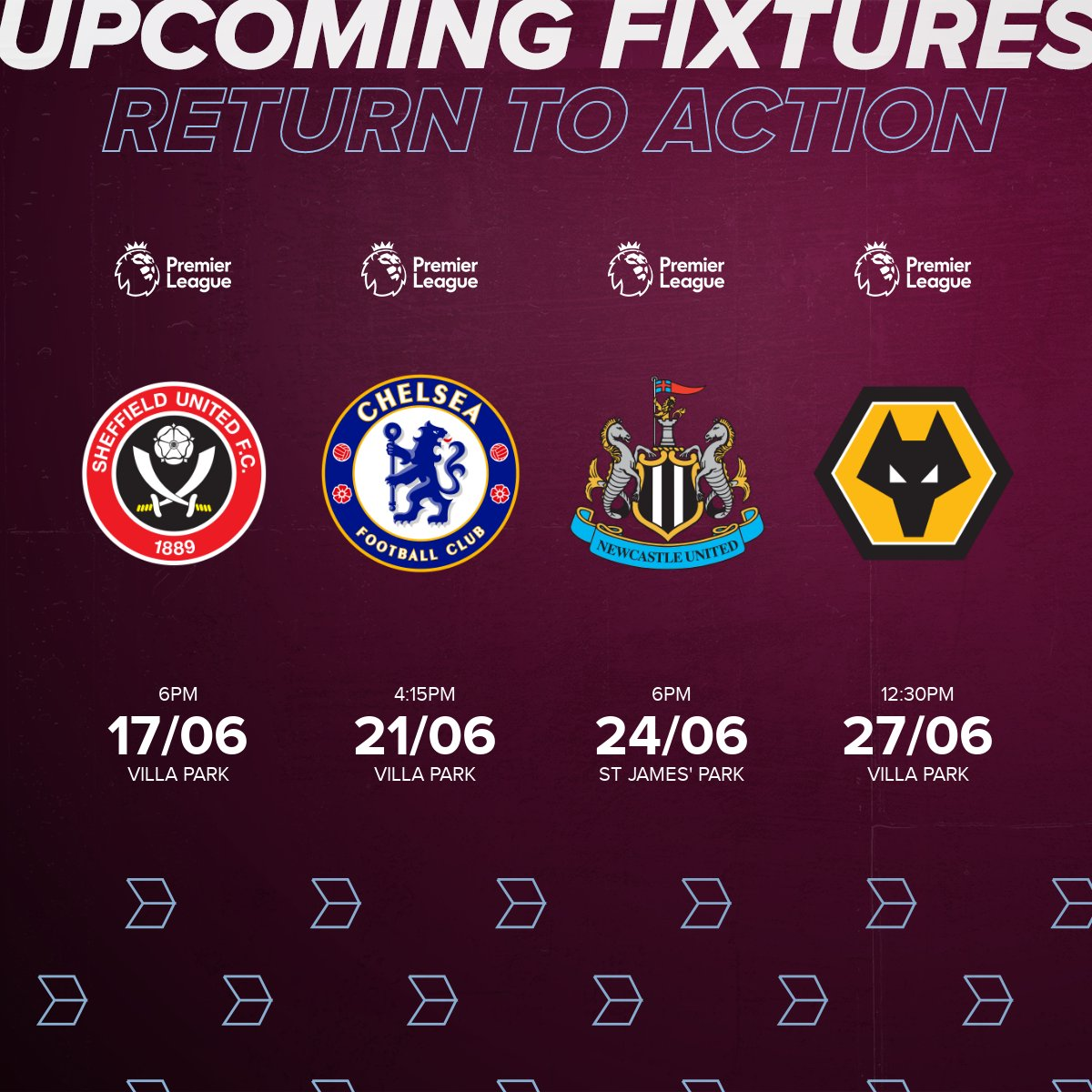 🚨 FIXTURES CONFIRMED 🚨 We will return to Premier League action against Sheffield United at Villa Park on Wednesday June 17. 👊 #AVFC