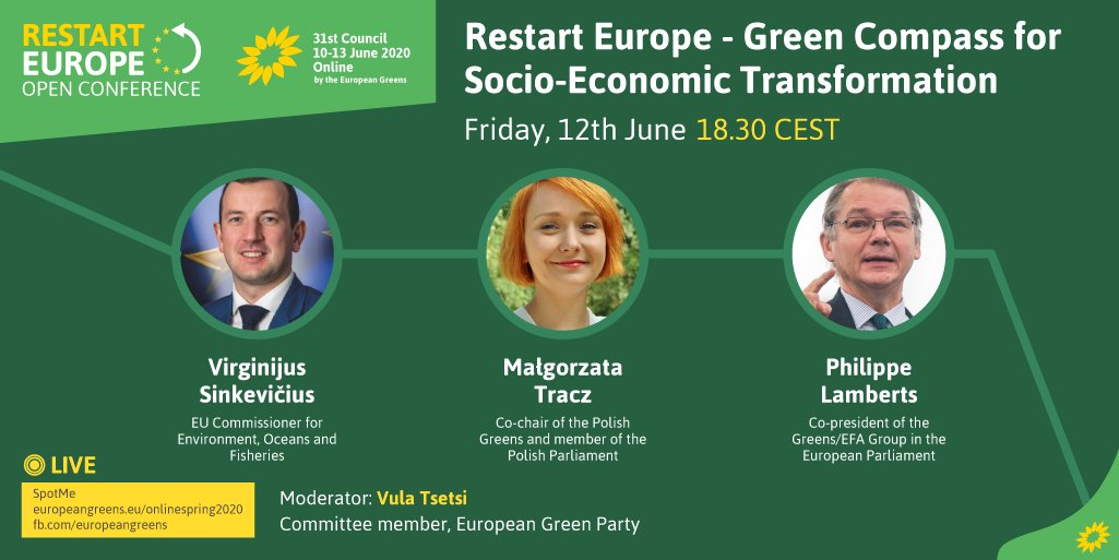 How can we green our societies and economies following the coronavirus crisis? Join the debate with @VSinkevicius, @GoTracz and @ph_lamberts by getting registered: europeangreens.eu/onlinespring20… #RestartEurope #EGP31