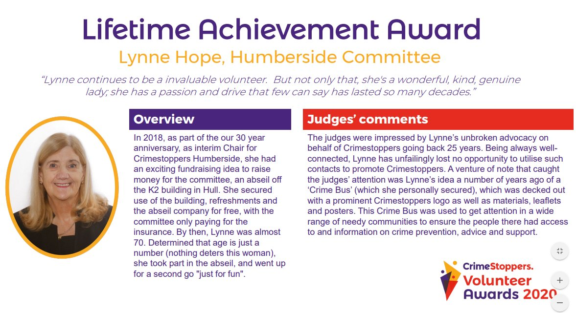 Huge congratulations to Lynne for the @CrimestoppersUK Lifetime Achievement Award. This lady is absolutely amazing & so deserving of being rewarded for her unfaltering dedication to our charity. Its a pleasure & honour to have her as one of our volunteers #VolunteersWeek