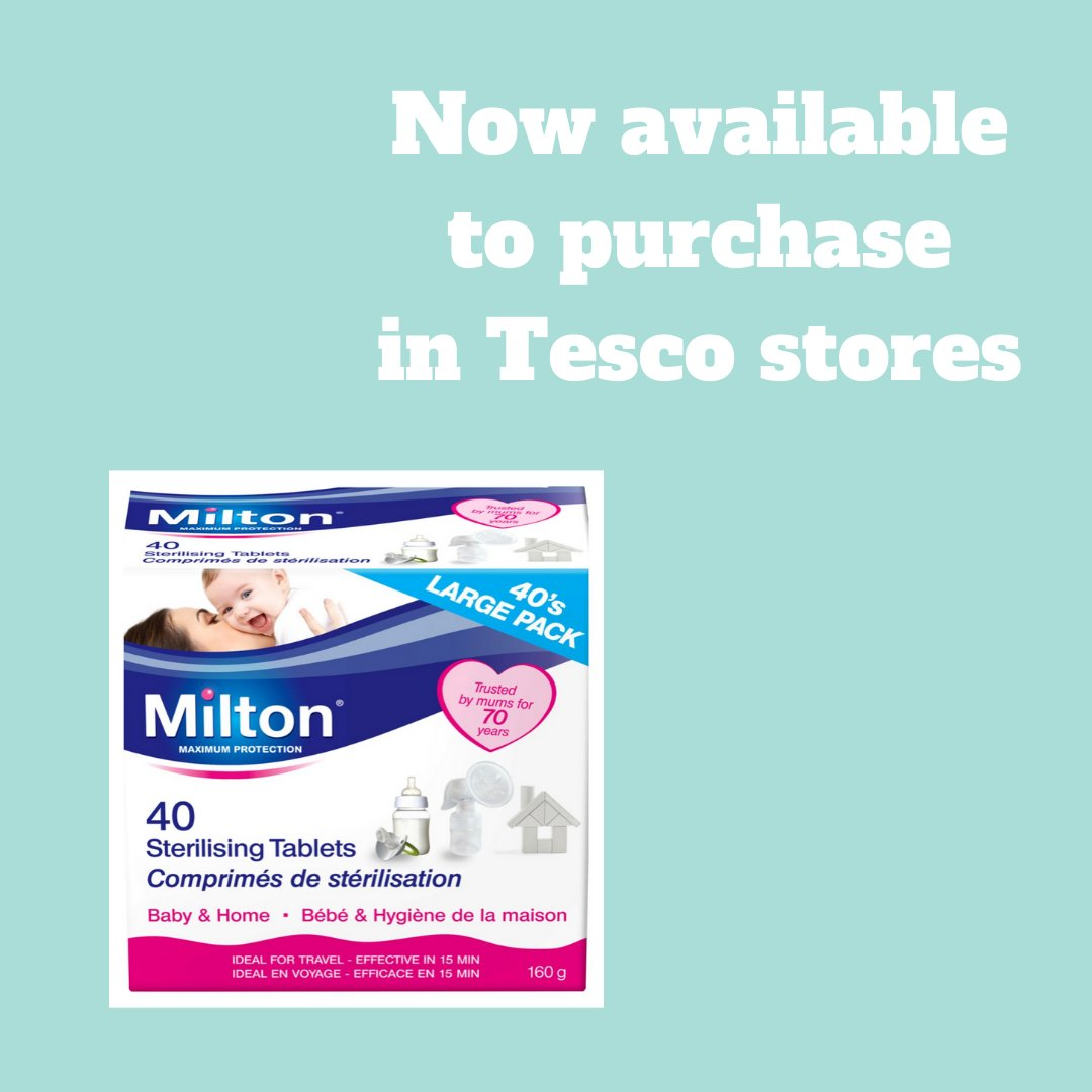 Our large pack of 40 Milton Tablets are now back in stock in Tesco stores! They retail at £2.50.  #miltonbaby #miltonsterilising #miltonproducts #parenting #baby #toddlers #cleaningtips #cleaninghacks #householdcleaning #miltonhacks #tescopic.twitter.com/hC3RF8yJWe