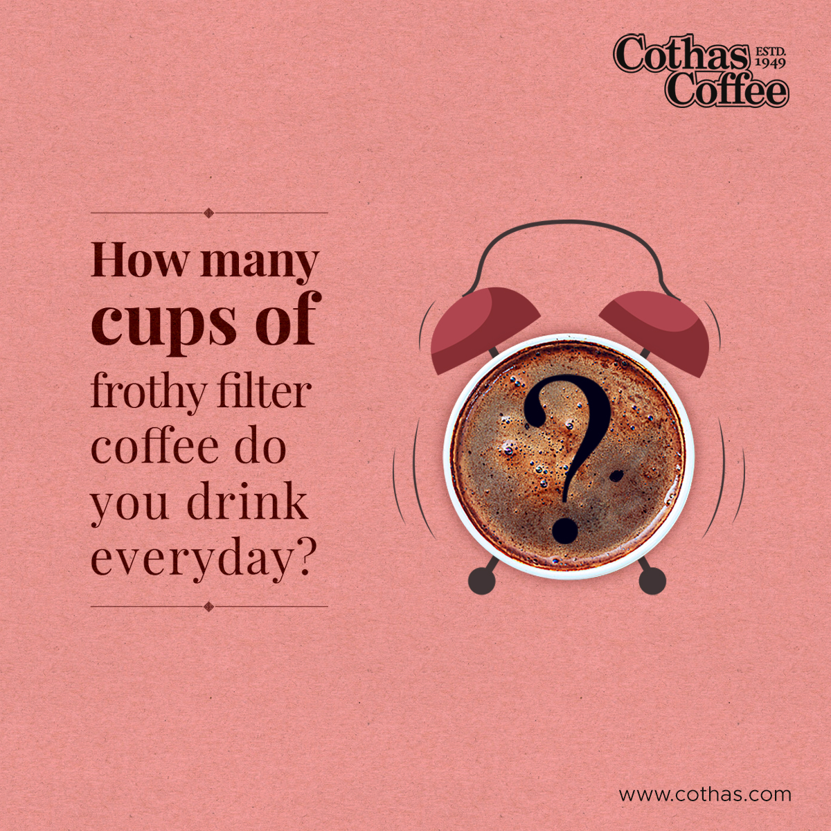 Show us you are a Coffee Addict! How many cups of filter coffee do you consume everyday? Add your comments below. Discover your coffee pals!  #Cothas #CothasCoffee #RealTasteOfCoffee #SouthIndianCoffee #CoffeeLovers #CoffeeAddicts #FilterCOffee #Coffeeholic #CoffeeCup #CoffeeMugpic.twitter.com/78NM2ccPbf