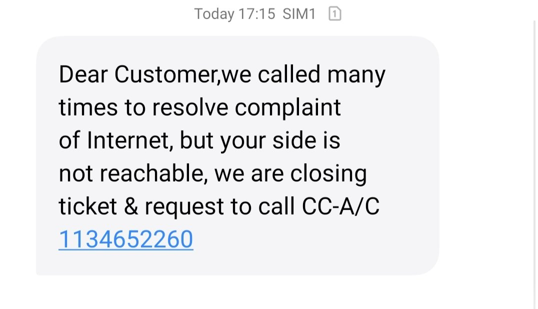 This is how you fool your customers.. Nobody have contacted me since yesterday... Now i am getting this message.. #patheticpic.twitter.com/C1YsncL5uB