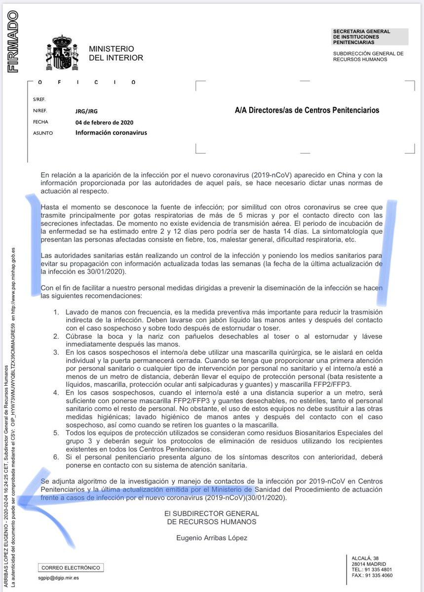 Lo sabían!! El 4 de Febrero el Ministerio del Interior enviaba este escrito!! Es tremendo,lo sabían todo! #MarlaskaDimision https://t.co/1KQo3Y1n8V