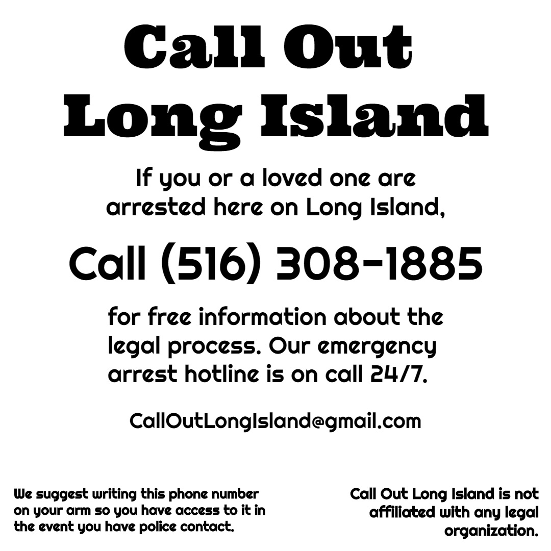 Deleted the last one because my organizers made a typo on the graphic, but follow calloutlongisland on insta for info, local lawyers are on the line for Long Island protesters https://t.co/nTgCwz5uPg