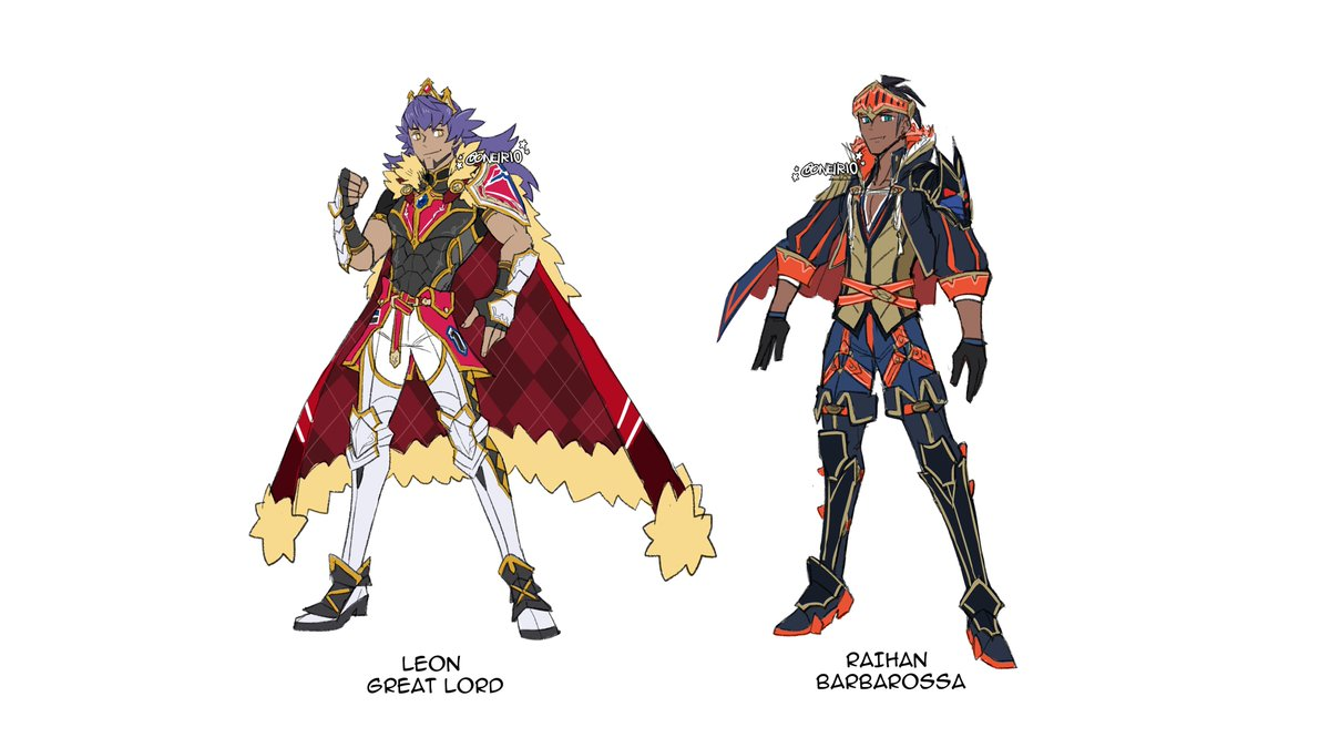Here are some Fire Emblem x Pokemon designs I made! Leon and Raihan will be featured in @fepokezines collaboration with @fefanboardgame! I made designs for the rest of the characters just for fun ^^