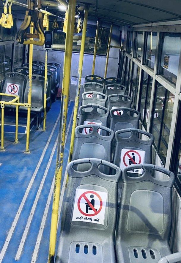 AMC -  #NewNorm #BRTS   New seating arrangements being done in BRTS buses for maintaining social distance. #ZigZagPattern   #Unlock1  #CashFreeCoronaFree  #LifePositiveCoronaNegativepic.twitter.com/cvpoms0Mvl