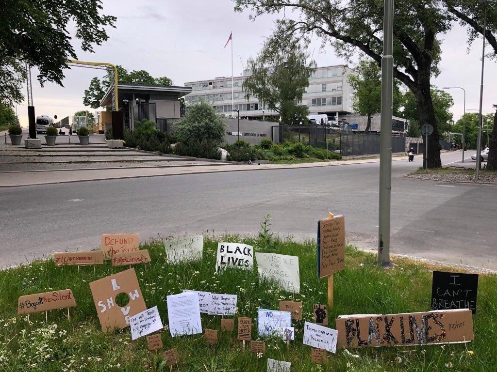 Outside the US Embassy in #Stockholm. #BlackLivesMattersweden #blacklivesmatter