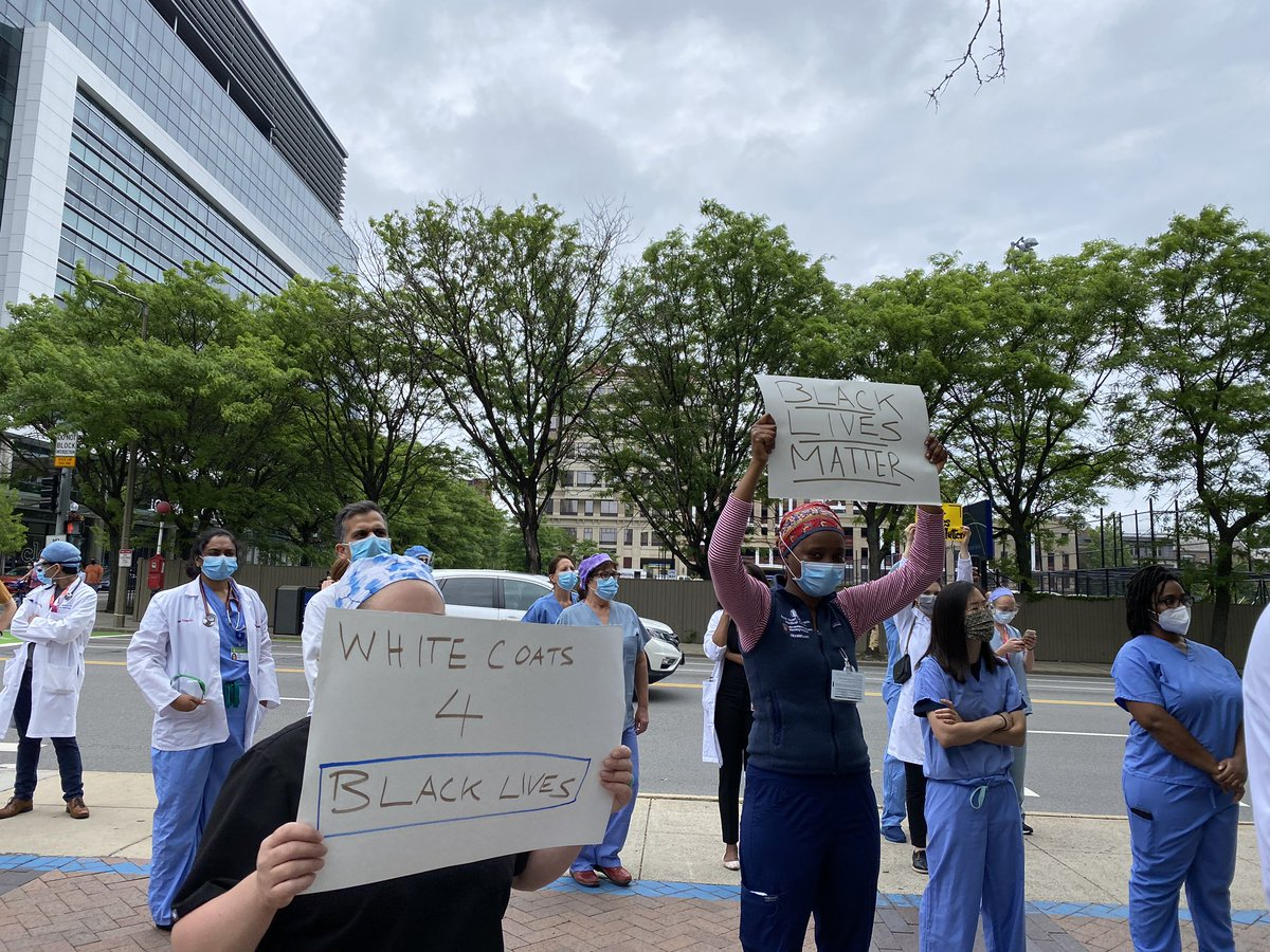 All over @CityOfBoston. We stand. We kneel. For our patients. For our neighbors. MDs, nurses, interns, residents, transport staff, technicians, researchers. We are better together. #WhiteCoatsForBlackLives #blacklivesmatter @BIDMChealth
