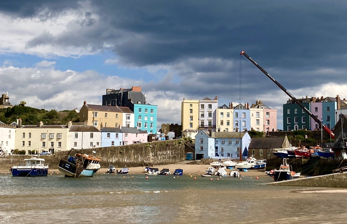 Cloudy old day for the boats to be welcomed back into the waters at Tenby harbour