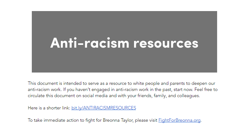 Anti-racism Resources: docs.google.com/document/d/1BR… This is a valuable list of books, articles, videos & more. I have started reading White Fragility & How To Be An Antiracist. It is more important now than ever to be a life-long learner, and to put that learning into action.