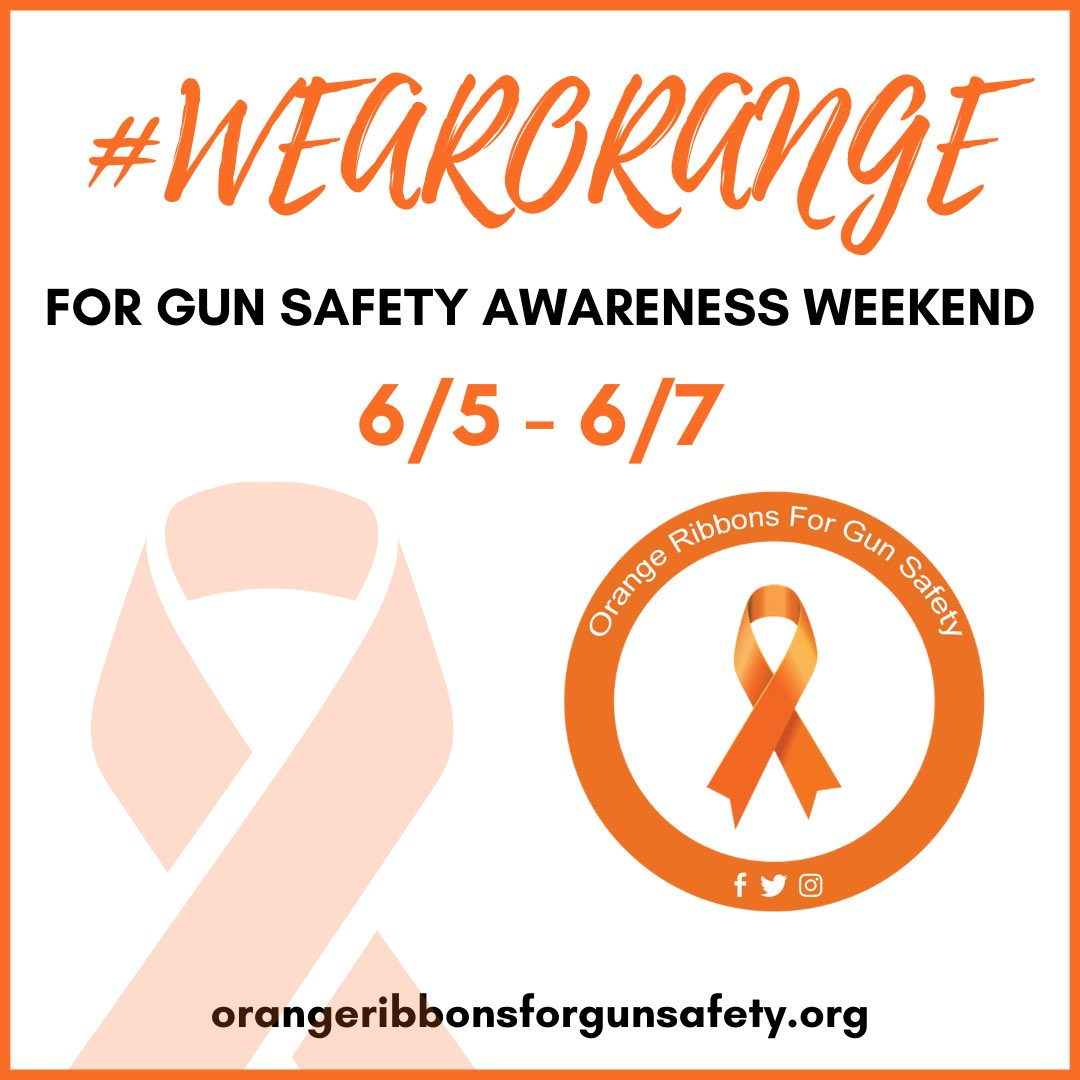 Today is the first day of Gun Safety Awareness Weekend. Show your support and #wearorange!   #OrangeRibbonsForGunSafety https://t.co/f7gNuYjRmt