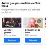 Image for the Tweet beginning: Les suggestions Facebook de groupes