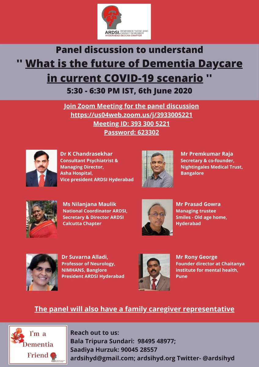 ARDSIhyd is inviting you to a scheduled Zoom meeting.  Topic: Future of dementia daycare in current COVID 19 scenario  Time: Jun 6, 2020 05:30 PM India time.  @ardsi @AlzDisInt @SamvednaSeniorC @vyasamoorthy @nightingalesmed @nishipulu @ajmahapatra @BME_Dementia https://t.co/SBd7nSf8Rc