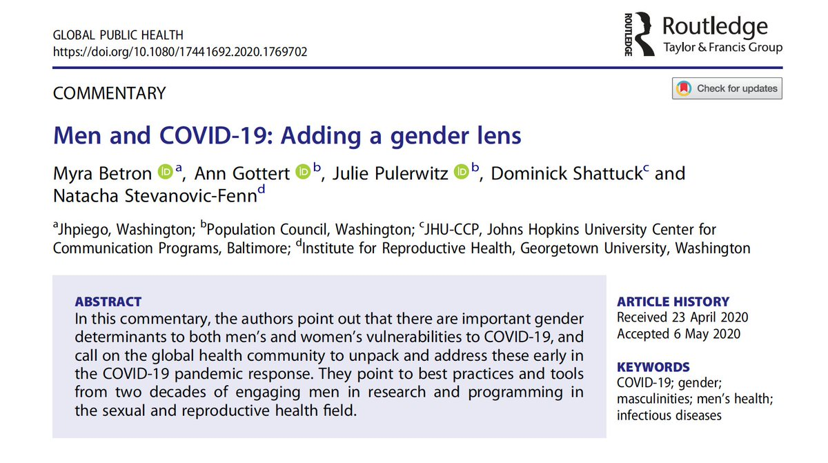 Men and COVID-19: Adding a gender lens: Open access article, Global Public Health. Argues there are important gender determinants to both men's and women's vulnerabilities. Points to practices and tools from work with men on sexual and reproductive health. tandfonline.com/doi/full/10.10…