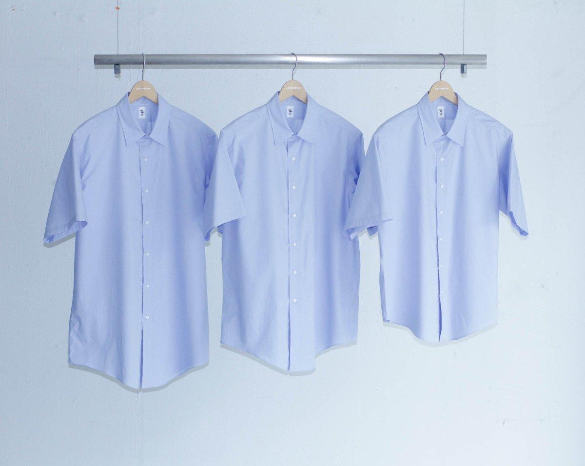 「エルイー」の定番シャツに半袖が追加、身幅や着丈が異なる全9サイズを展開