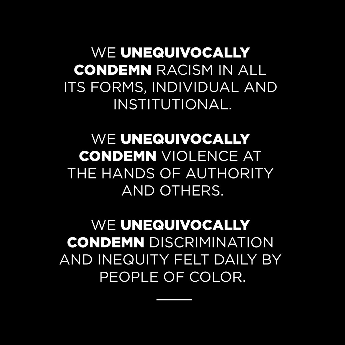 Today, we are observing a Day of Solidarity to stand with all those fighting for equality and social justice in America, and to allow our employees time to process, grieve, reflect, educate themselves, get involved or focus on self-care and mental health. https://t.co/32z9tyzEUc
