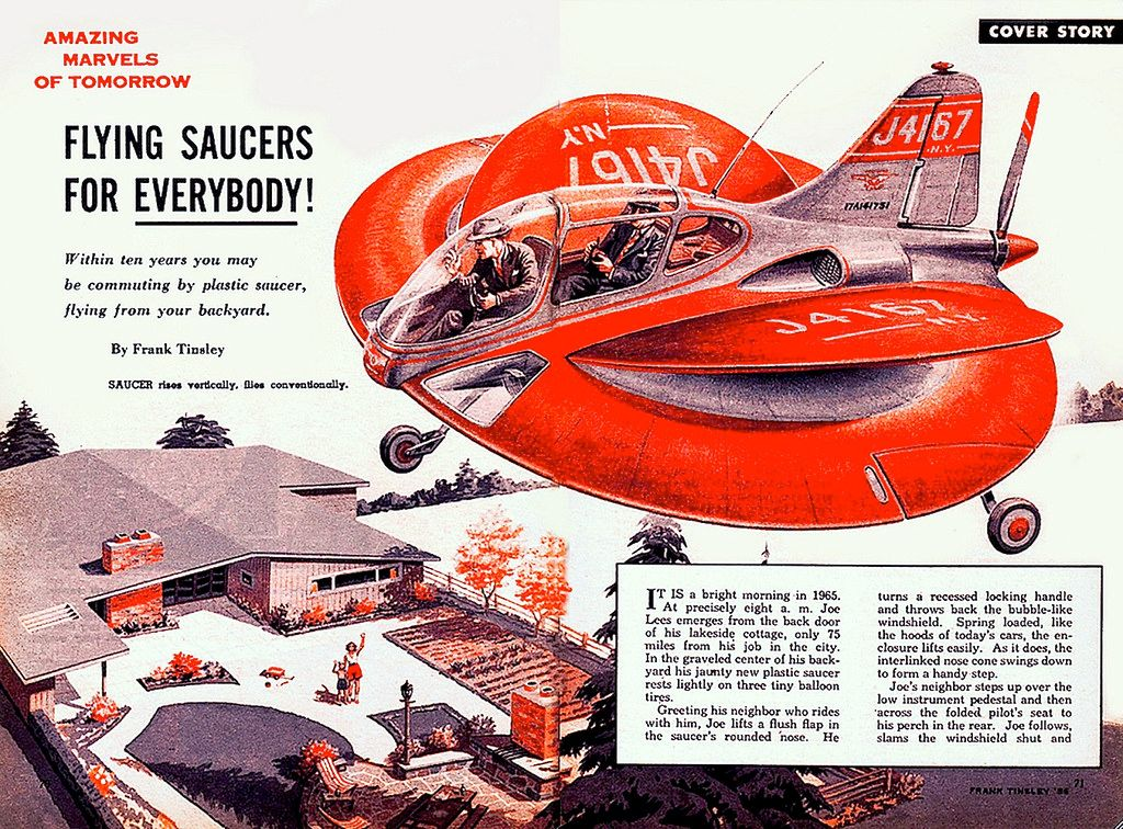 Flying saucers for everybody! - 1957  Illustration by Frank Tinsley  #graphic #yeolde #illustration #cover #flyingsaucer #scifipic.twitter.com/0TlphvrpyH