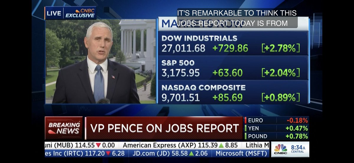 """""""This recovery begins today,"""" Pence says on CNBC."""