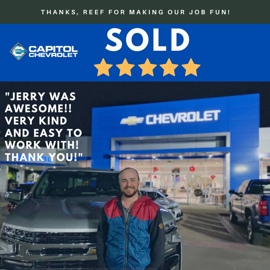 We LOVE our customers!  Thank you for taking the time to leave us a review, Reef!  #Reviews #CustomerService #StrivetoProvidetheBest #BestTeam #Chevy #ATX #ATXCarLifestyle https://t.co/hLBPx31EOY