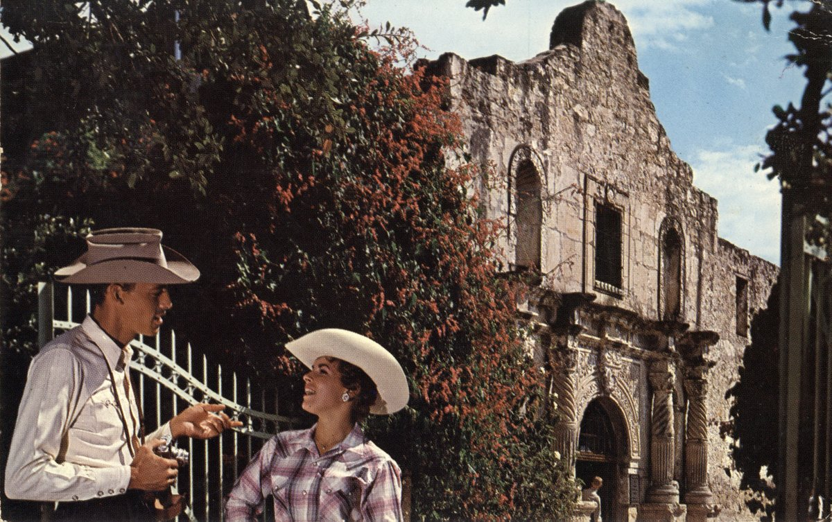 This #PostcardsFromTheAlamo has the subjects dressed in their finest 'Texan' attire.