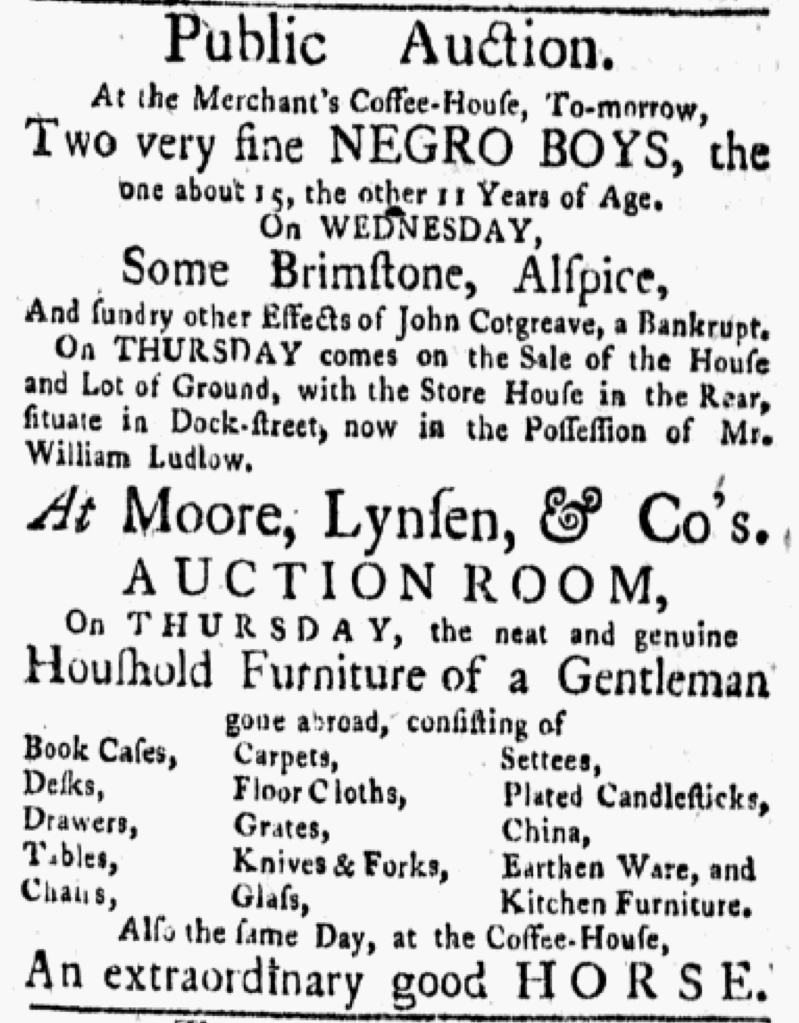 """Colonial newspapers contributed to the perpetuation of slavery. Advertised 250 years ago today: """"Public Auction...Two very fine NEGRO BOYS, the one about 15, the other 11 Years of Age. On WEDNESDAY, Some Brimstone, Alspice"""" (New-York Gazette & Weekly Mercury 6/11/1770) https://t.co/rzaeqyKwLx"""