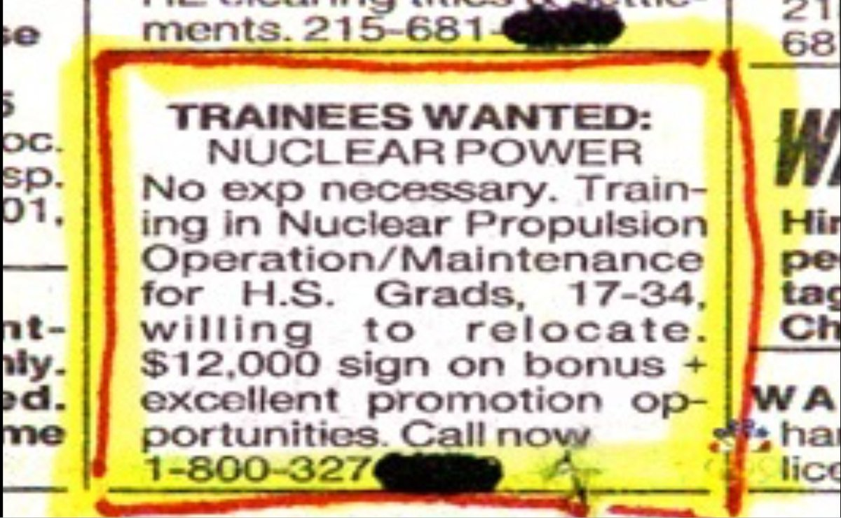 Nuclear power trainees wanted...