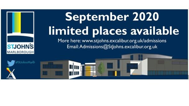 St John's Marlborough currently has a limited number of places available for September 2020 start in Years 7, 8 and 9. Find admissions information on our website https://t.co/ys1ojrZDso or email us if you'd like to know more: admissions@stjohns.excalibur.org.uk @ExcaliburAT