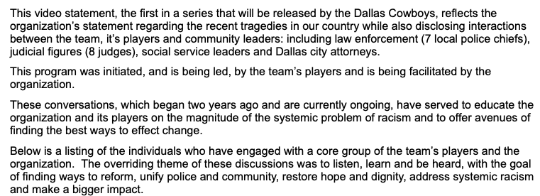 @dallascowboys The @dallascowboys included this written statement with the video.