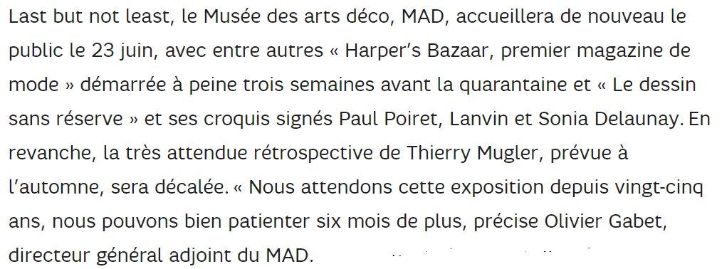Réouverture du @madparisfr le 23 juin => #exposition  Harper's Bazaar + les chefs-d'œuvre du Cabinet des dessins du Musée. La rétrospective Thierry Mugler, prévue à l'automne, sera décalée. Source @emiliefaure @matthieumorge Hélène Guillaume (@Le_Figaro) https://t.co/aTwE0kONgr https://t.co/I5JzPQGiPr