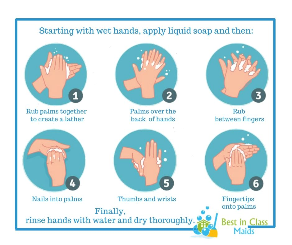Here are the steps on how to wash your hands properly.  Book now at http://Bestinclassmaids.com  #cleaningtips #cleaningsecretspic.twitter.com/keIUORqMBr
