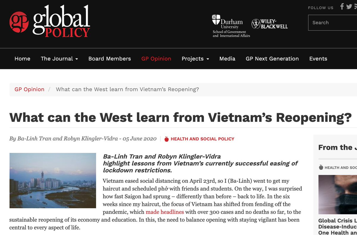 #Vietnam started to reopen on April 23rd, after flattening the #COVIDー19 curve.   What can the world learn from its reopening?   In a new @Global_Policy article, Ba-Linh Tran and I offer 4 lessons for the West:   https://www.globalpolicyjournal.com/blog/05/06/2020/what-can-west-learn-vietnams-reopening…pic.twitter.com/VRQSPZFQtO